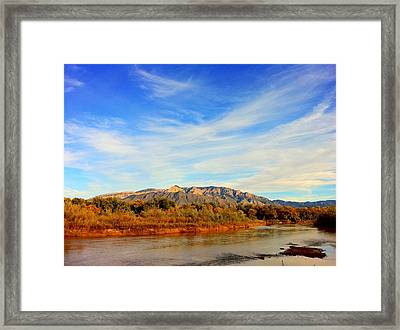 Sandia Mountains As Seen From Corales Framed Print by Daniel Cummins