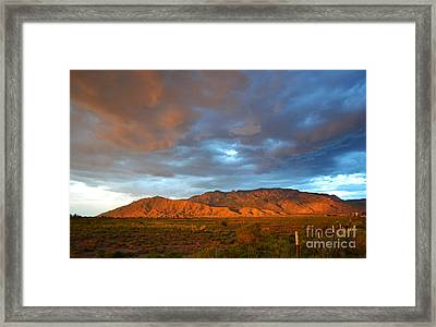 Sandia Mountains Colorful Sunset Framed Print by Andrea Hazel Ihlefeld