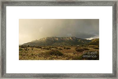 Sandia Mountains In Evening Storm Framed Print by Matt Tilghman
