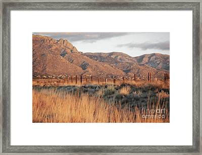 Sandia Mountains Rustic Fence Countryside Framed Print by Andrea Hazel Ihlefeld