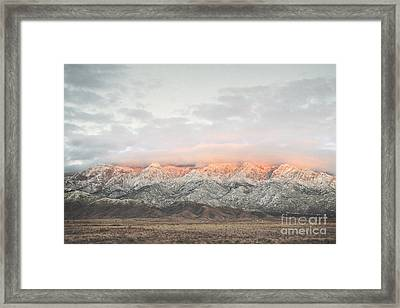 Sandia Mountains Rustic Sunset Landscape Framed Print by Andrea Hazel Ihlefeld