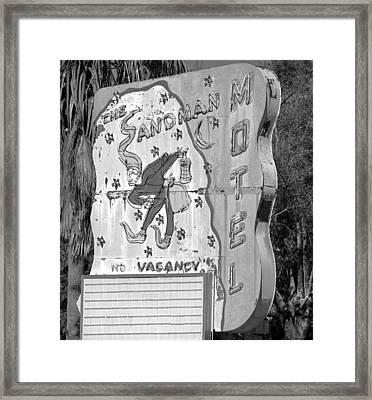 Sandman Hotel Sign Black And White Framed Print by David Lee Thompson