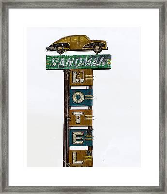 Sandman Motel Framed Print by Rick Mosher