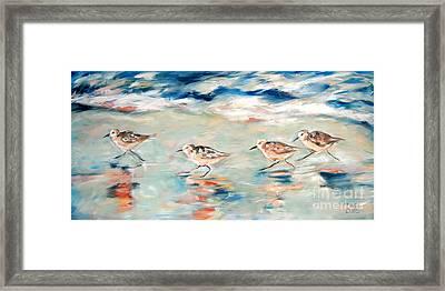 Sandpipers Running Framed Print by Linda Olsen