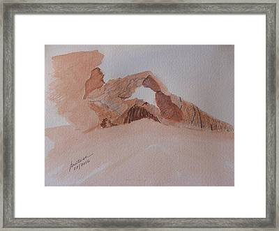 Framed Print featuring the painting Sandstone Arch - Valley Of Fire  by Joel Deutsch