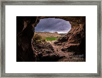 Sandstone Cave In Stormy Weather - Moab - Utah Framed Print by Gary Whitton