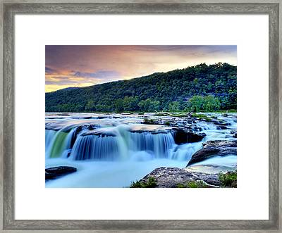 Sandstone Falls At Sunset In West Virginia   Hdr Framed Print by Brendan Reals