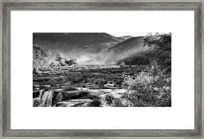 Sandstone Falls West Virginia - Bw Framed Print by Steve Harrington