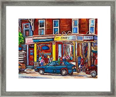 Sandwich Shop Montreal Memories Java U Original Street Scene Painting Canadian Art Carole Spandau    Framed Print by Carole Spandau