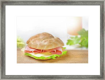 Sandwich With Ham And Green Lettuce And Cheese Framed Print