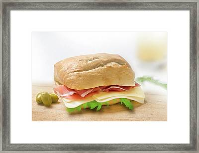 Sandwich With Prosciutto Cheese And Rukola Framed Print