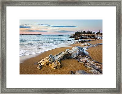 Sandy Beach At Reid Framed Print by Benjamin Williamson