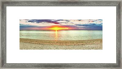 Sandy Beach At Sunset. Panorama  Framed Print