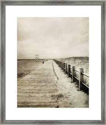 Sandy Beach Pathway - Milford Ct. Framed Print by Joann Vitali