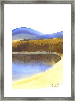 Sandy Blue Dusky Mountain Lake Framed Print by Kip DeVore