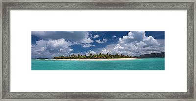 Sandy Cay Beach British Virgin Islands Panoramic Framed Print by Adam Romanowicz