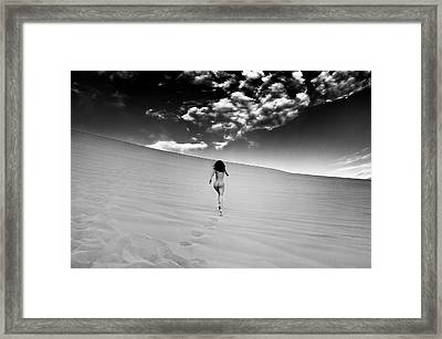 Sandy Dune Nude - Catching The Clouds Framed Print