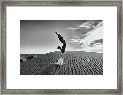Sandy Dune Nude - The Jump Framed Print