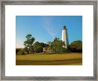Framed Print featuring the photograph Sandy Hook Lighthouse by Iconic Images Art Gallery David Pucciarelli