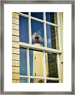 Sandy Hook Lighthouse Reflection Framed Print