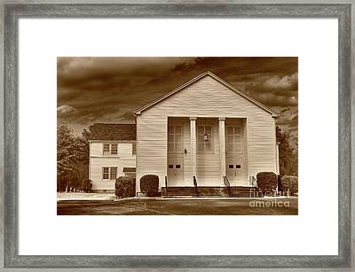 Sandy Level Baptist In Sepia Tones Framed Print by Skip Willits