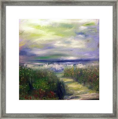 Sandy Path To The Beach Painting Framed Print by Patricia Taylor