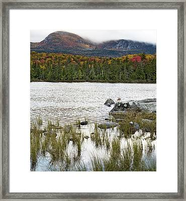 Sandy Stream Pond View Of Baxter Peak In Baxter State Park Maine Framed Print by Brendan Reals
