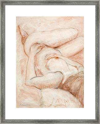 Framed Print featuring the drawing Sanguine Nude by Kerryn Madsen-Pietsch