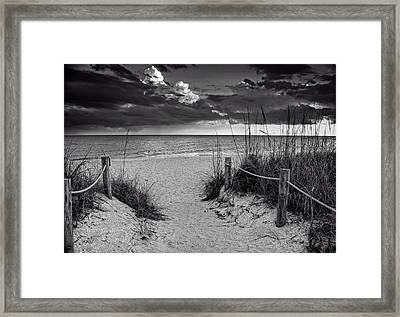 Sanibel Island Beach Access In Black And White Framed Print