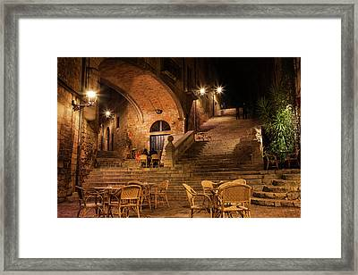 Sant Domenec Stairs In Girona At Night Framed Print