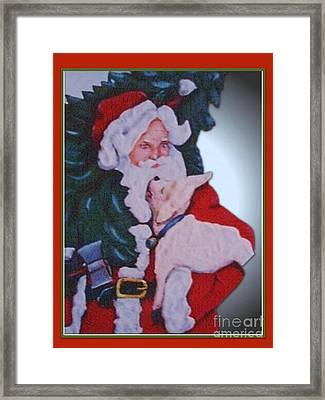 Santa And A Lamb Framed Print