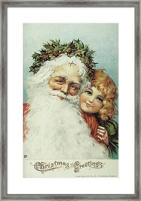 Santa And His Little Admirer Framed Print