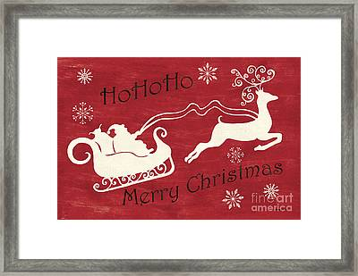 Santa And Reindeer Sleigh Framed Print by Debbie DeWitt