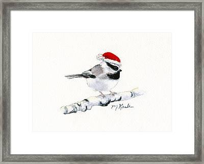 Santa Bandit - Chickadee Framed Print