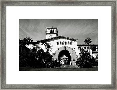 Santa Barbara Courthouse Black And White-by Linda Woods Framed Print