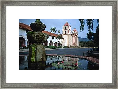Santa Barbara Mission With Fountain 2 Framed Print by Kathy Yates