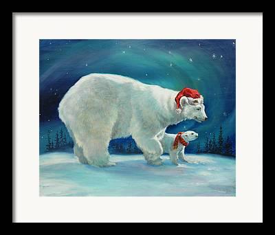 Children And Bear Framed Prints