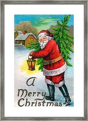 Santa Carrying A Christmas Tree Framed Print by American School