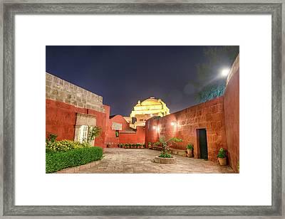 Santa Catalina Monastery Courtyard At Night Framed Print by Jess Kraft