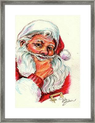 Santa Checking Twice Christmas Image Framed Print