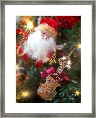 Santa Claus And Violin Framed Print by Amy Cicconi