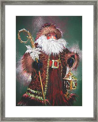 Santa Claus -dressed All In Fur From His Head To His Foot. Framed Print by Shelley Schoenherr