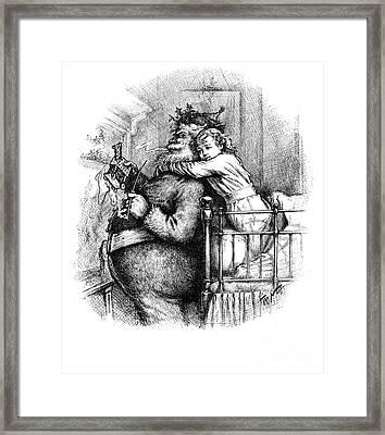 Santa Claus Gets Caught, 1889 Framed Print