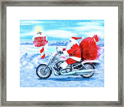 Framed Print featuring the mixed media Santa Claus Has A New Ride by Mark Tisdale