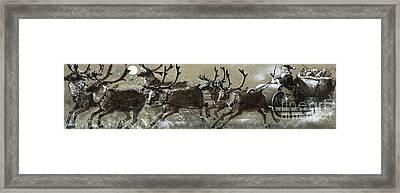 Santa Claus In His Sleigh Framed Print by English School