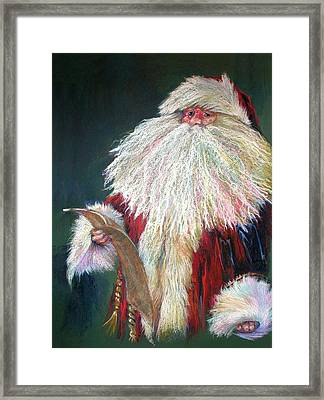 Santa Claus  Making A List And Checking It Twice Framed Print by Shelley Schoenherr