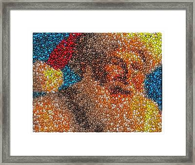 Framed Print featuring the mixed media Santa Claus Mm Candy Mosaic by Paul Van Scott