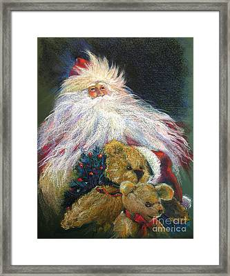 Santa Claus Riding Up Front With The Big Guy  Framed Print by Shelley Schoenherr