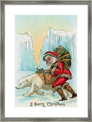 Santa Claus With A Polar Bear At The North Pole Framed Print by American School