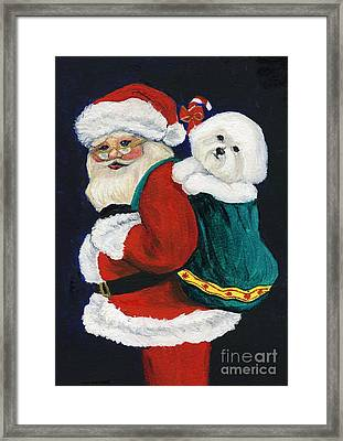Santa Claus With Bichon Frise Framed Print